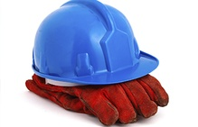 blue construction hat, red gloves